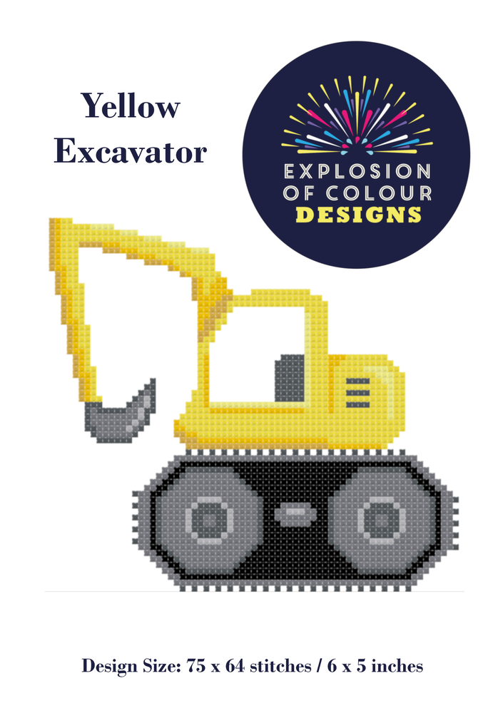 Image of Yellow Excavator Digital Pattern