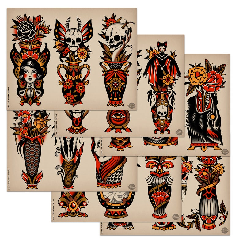 Image of VASES II - Tattoo Flash Set (2021)
