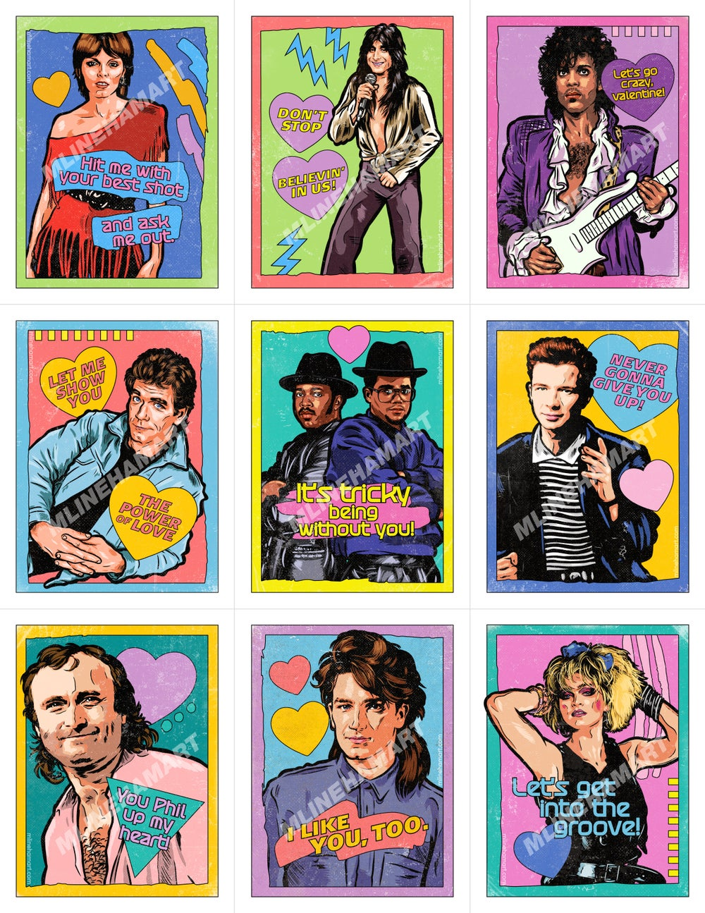 80's Music Valentine's Day Card Pack (2021)