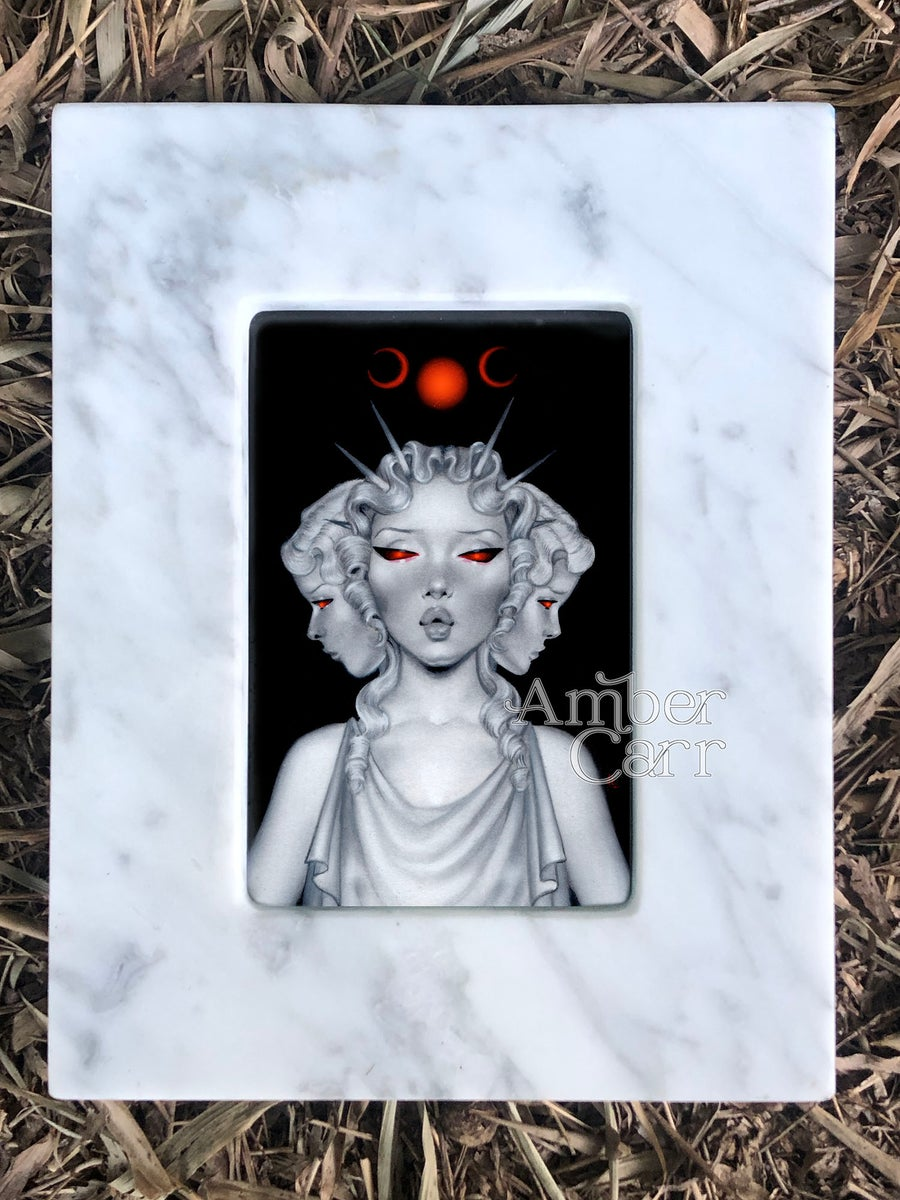 Image of Hecate Original Painting Framed in Marble