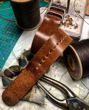 Image of Marble #8 Shell Cordovan Nato strap