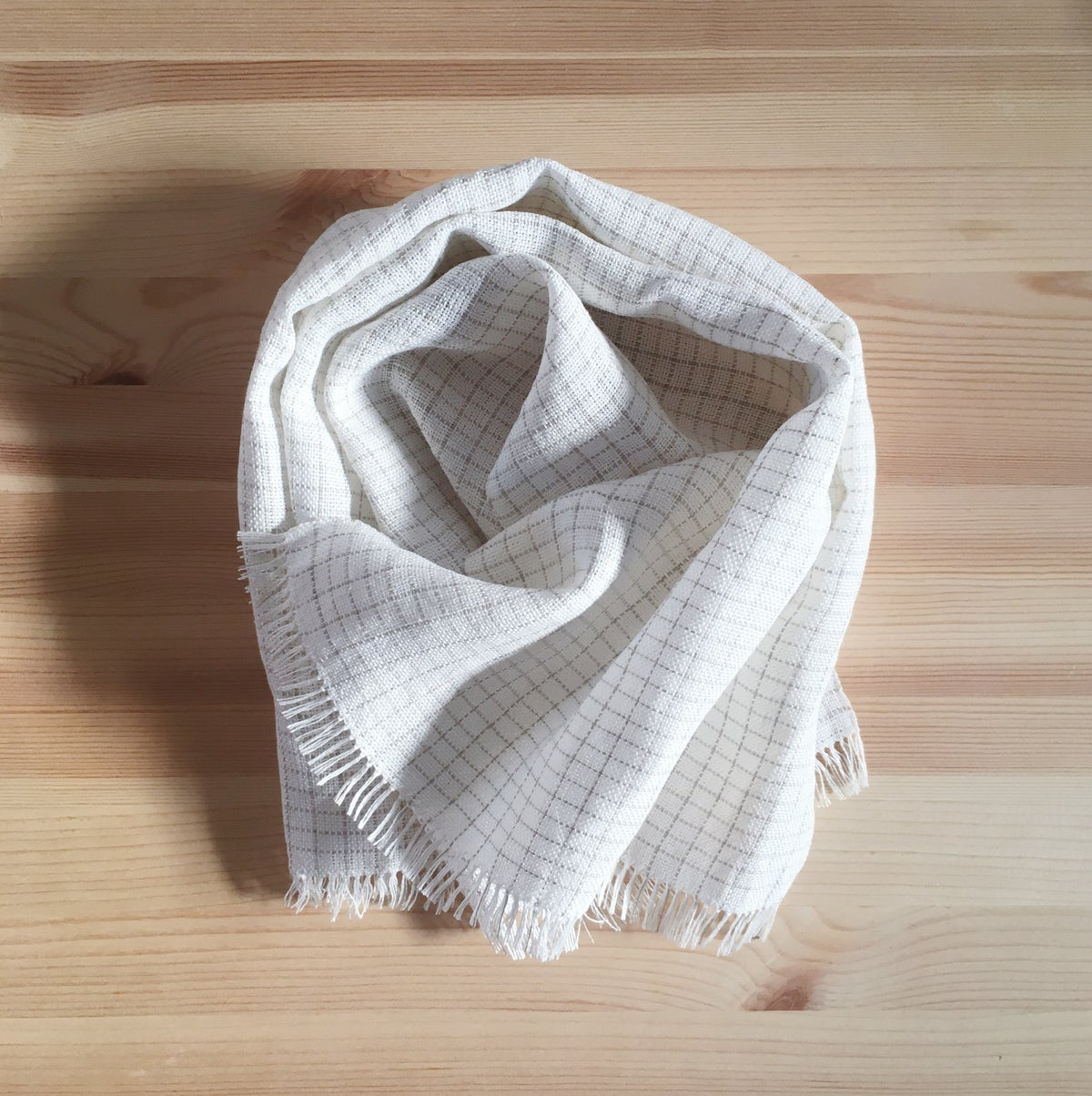 Image of White Kitchen Towel, Rectangle Grid