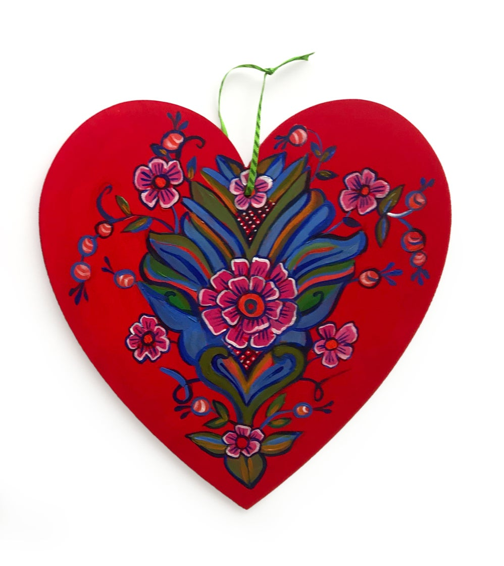 Image of Large Wooden Hand Painted Swedish Heart Ornaments