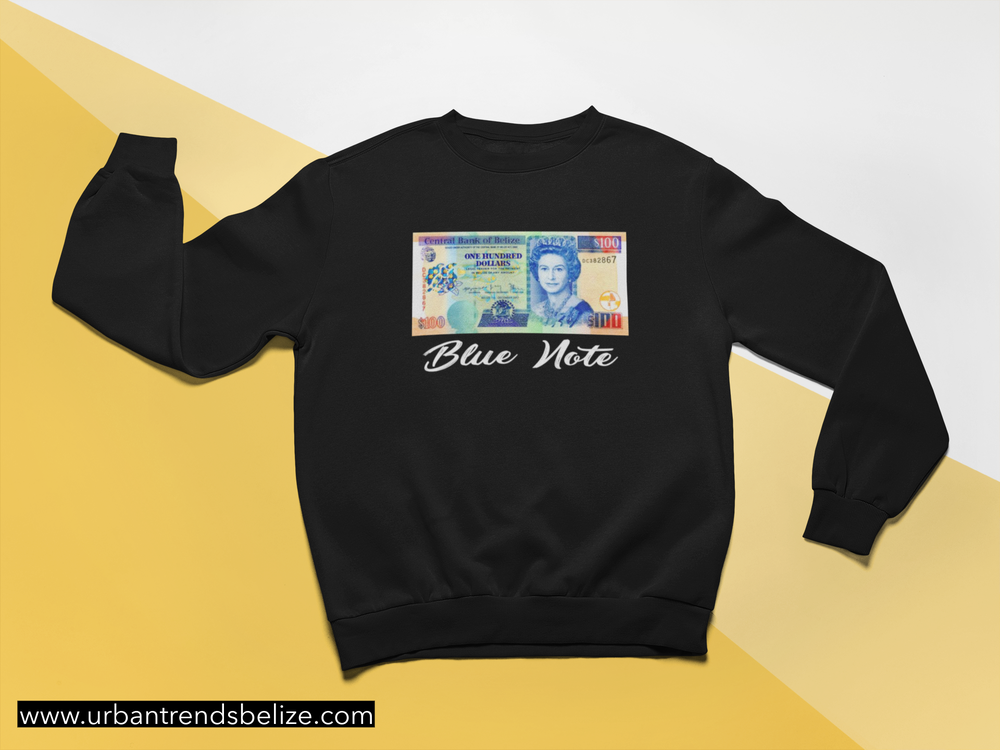 Image of BELIZE BLUE NOTE BLACK CREWNECK | HOODIE  SWEATER