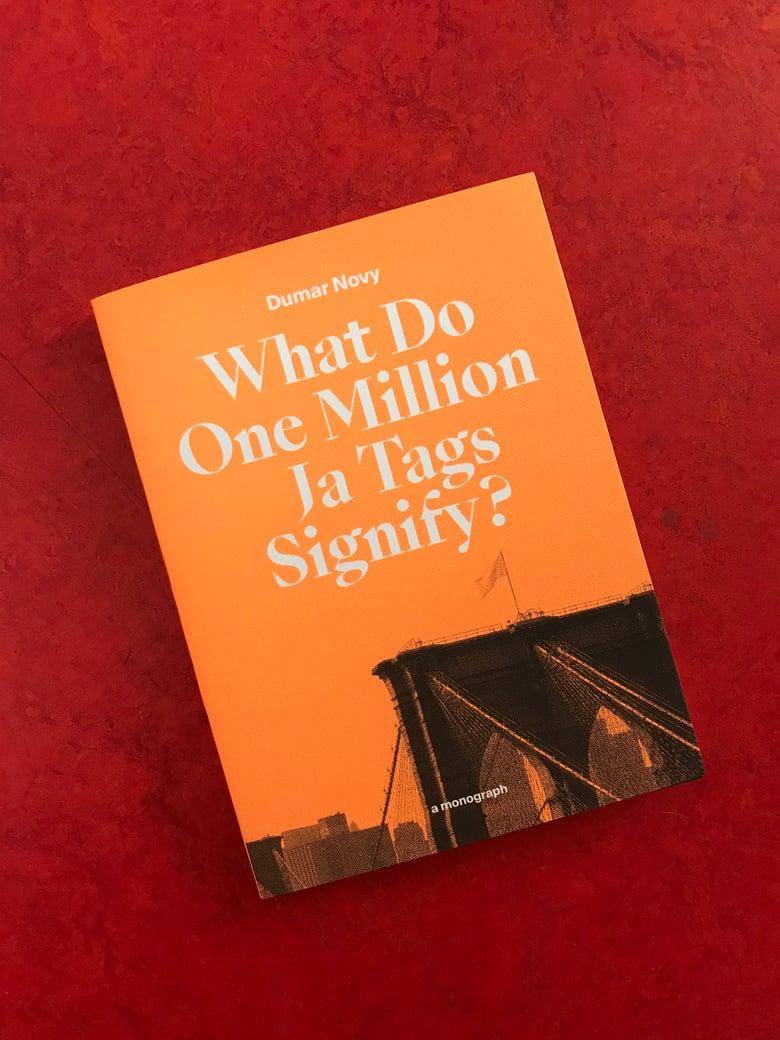 Image of WHAT DO ONE MILLION JA TAGS SIGNIFY? / DUMAR NOVY