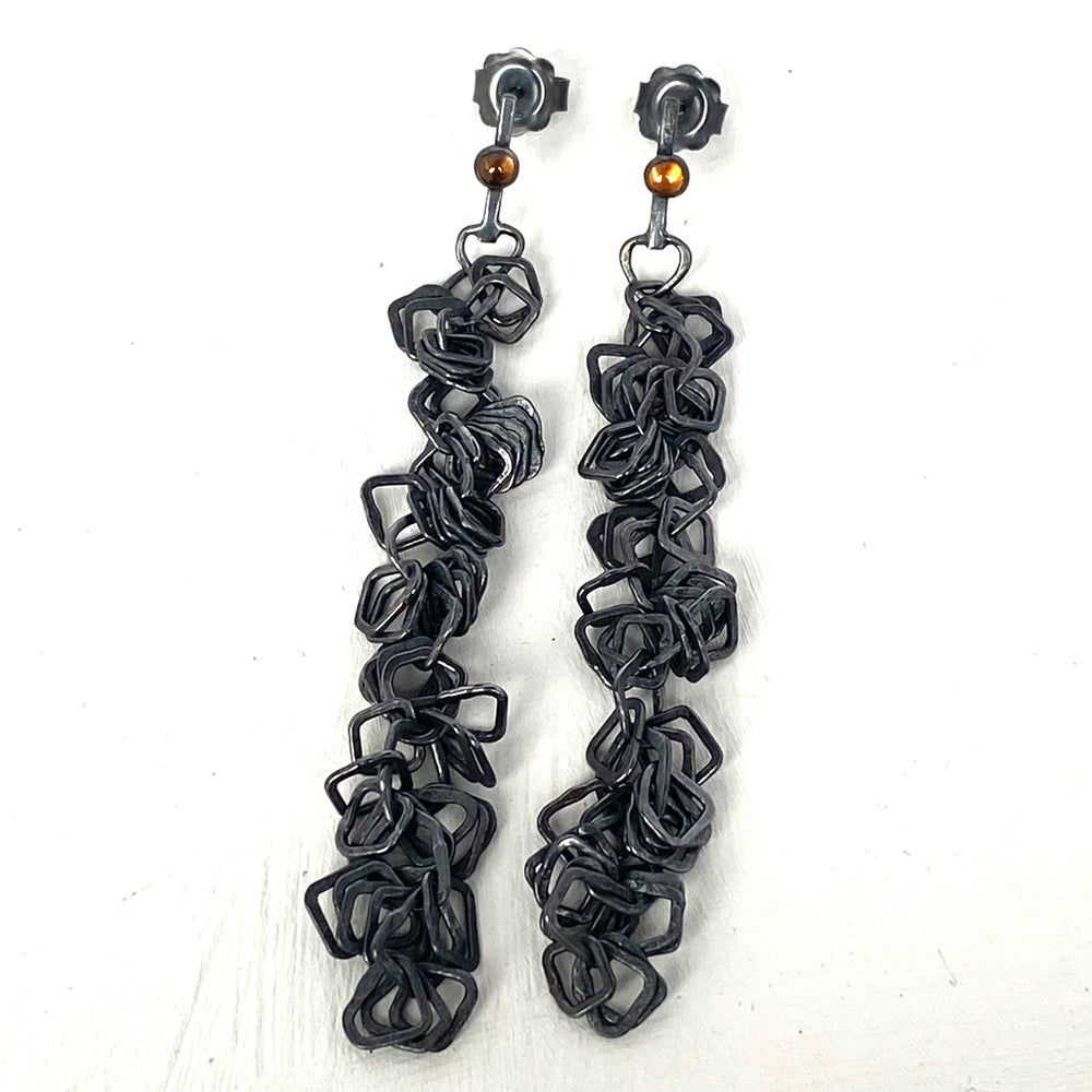 Image of Indian summer earrings series 2- Oxidised silver/orange Tourmaline