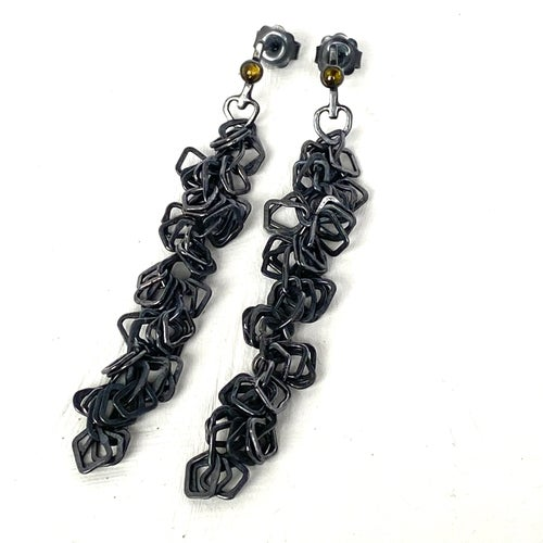 Image of Indian summer earrings series 2- oxidised silver/ olive Tourmaline