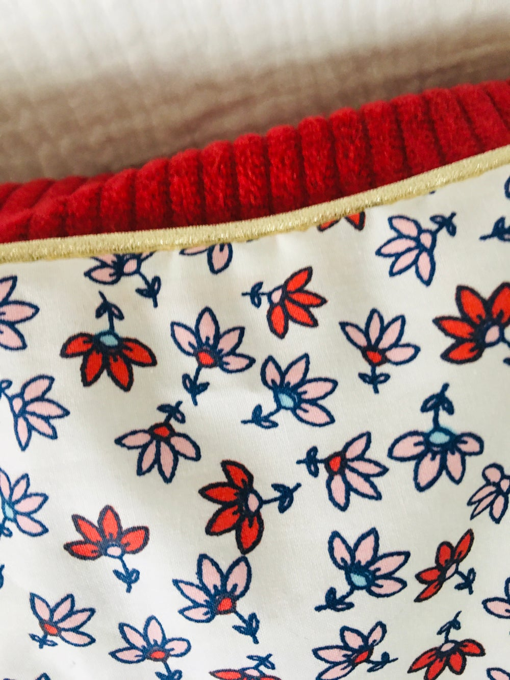 Image of Coussin velours rouge