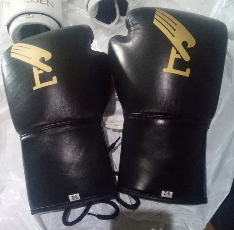 Image of EVSN BOXN Black/Gold Boxing Gloves