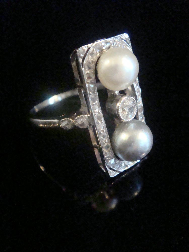 Image of STUNNING FRENCH EDWARDIAN ART DECO 18CT ROSE CUT DIAMOND NATURAL PEARL RING