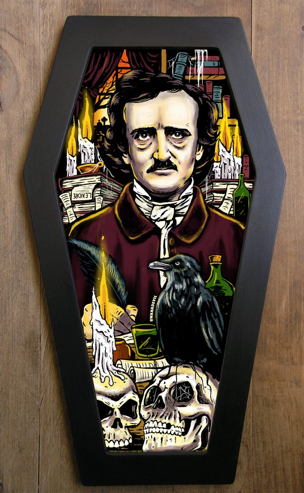 Image of Edgar Allan Poe Coffin Framed Art Print (Only 3 available!)