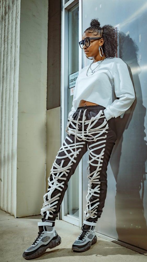 Image of Black & White Lace Up Joggers