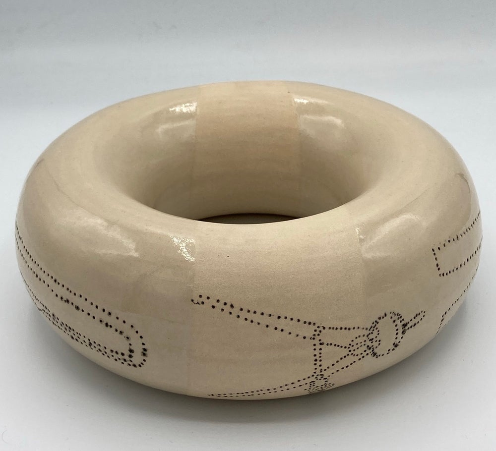 Image of Giant donut with tool design and gold lustre