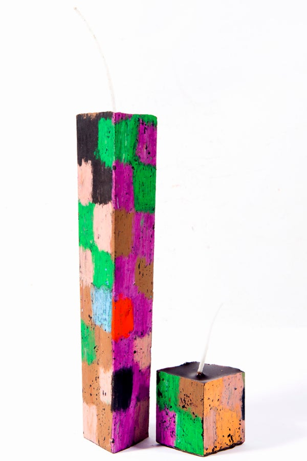 Image of Stack Tower Mother & Child in maroon, black, red, brown, green, white, grey, pink, orange, aubergine