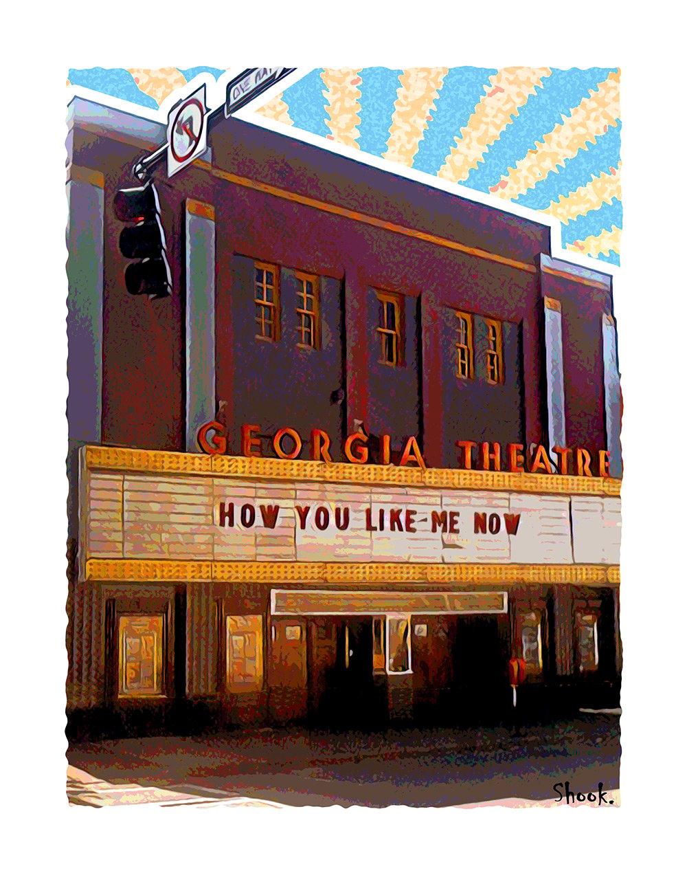 "Georgia Theatre Athens GA Giclée Art Print - 11"" x 14"""