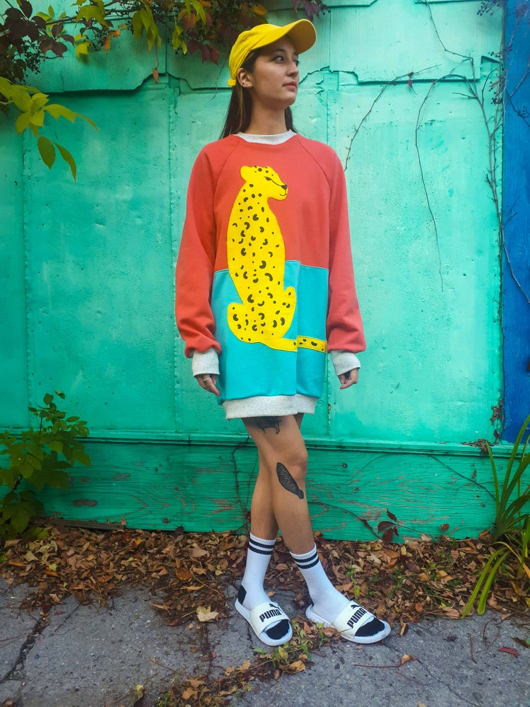 Image of Block Colour Leopard Applique Sweatshirt