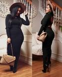 Elissa Sweater Dress (black*rust*wine*mustard)