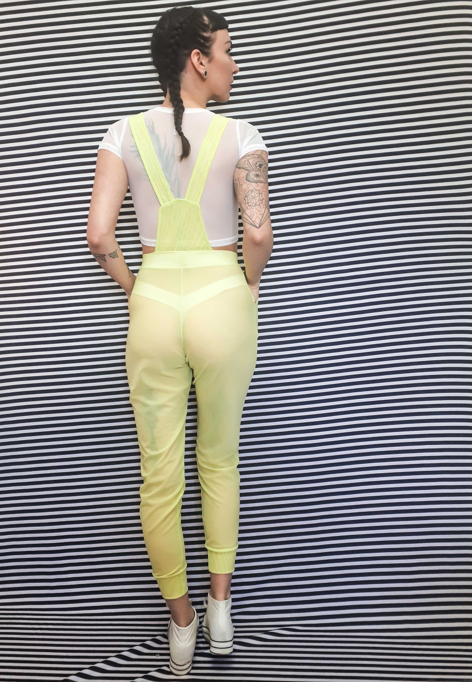 Image of Made-To-Order Mesh Heart Pocket Overalls