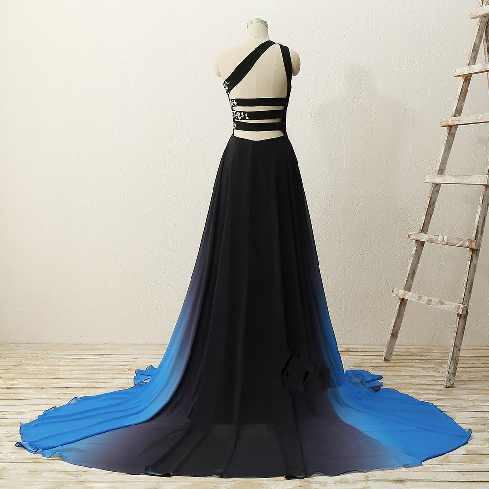 Chic One Shoulder Chiffon Blue and Black Party Dress, Gradient Prom Dress