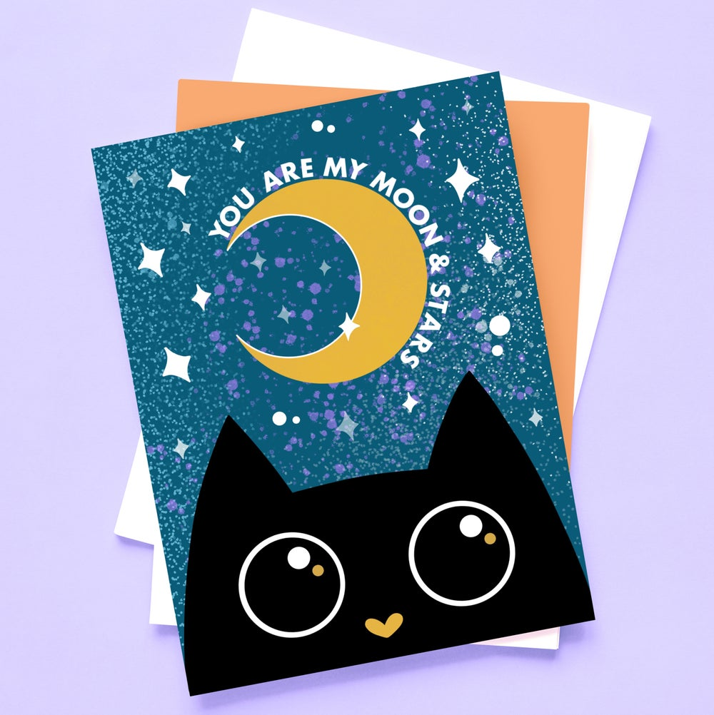 Image of Moon and Stars Black Cat Card by URGHH Designs