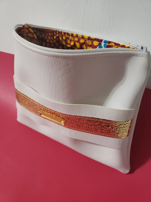 Image of White Gold Clutch with Hand Strap