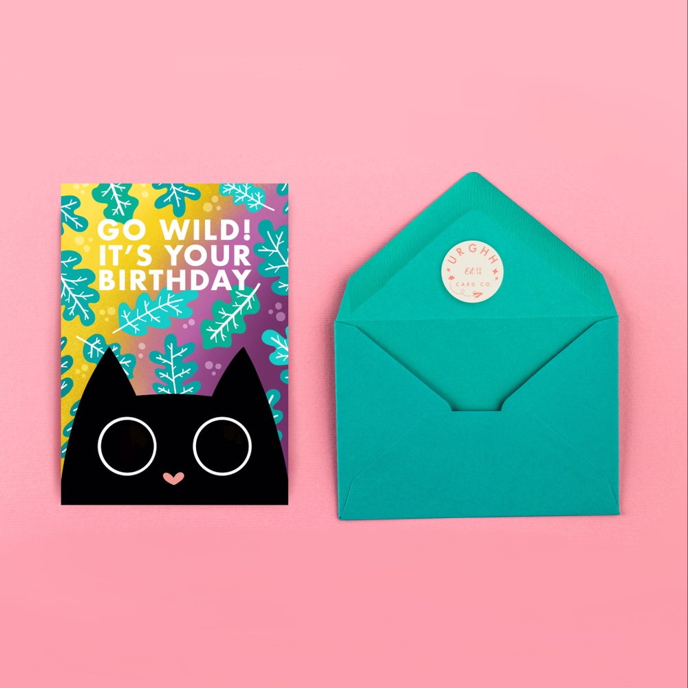 Image of Wild Black Cat Card by URGHH Card Co.