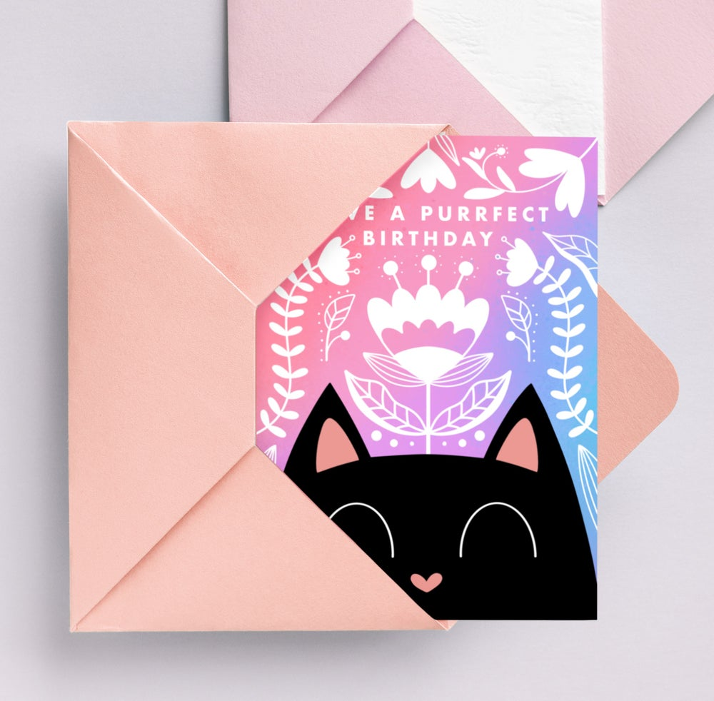 Image of Danish Flower Cat Card by URGHH Card Co.