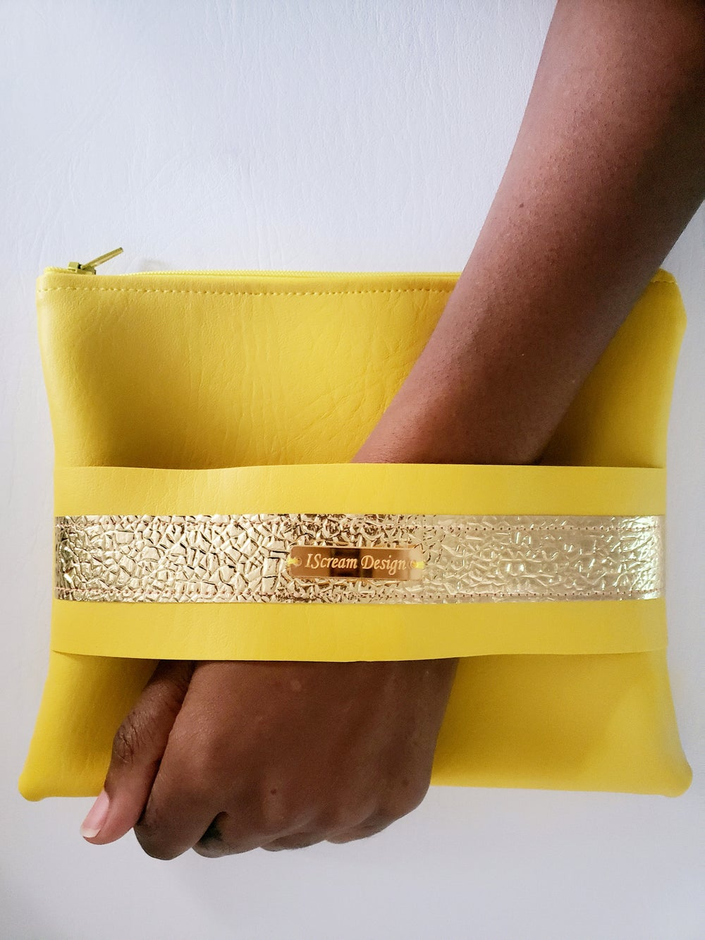 Image of Neon Yellow Gold Clutch With Hand Strap