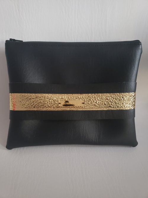 Image of Black Gold Clutch With Hand Strap