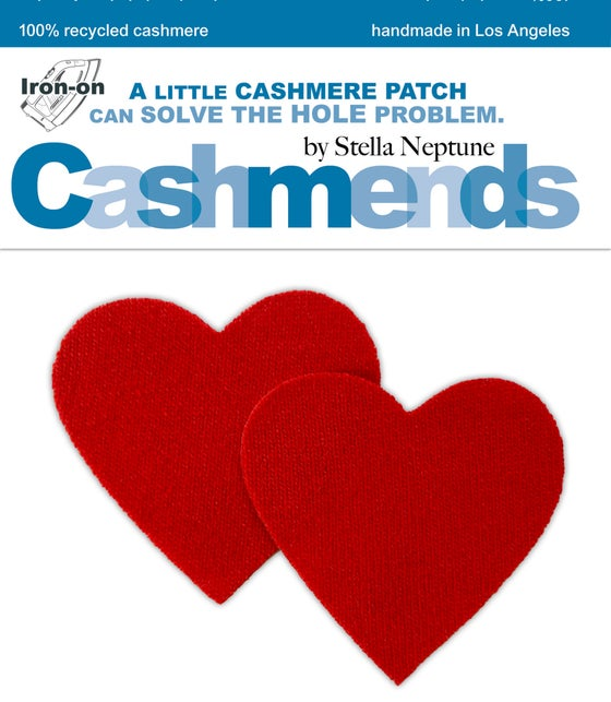 Image of Iron-On Cashmere Elbow Patches - Tomato Red Hearts