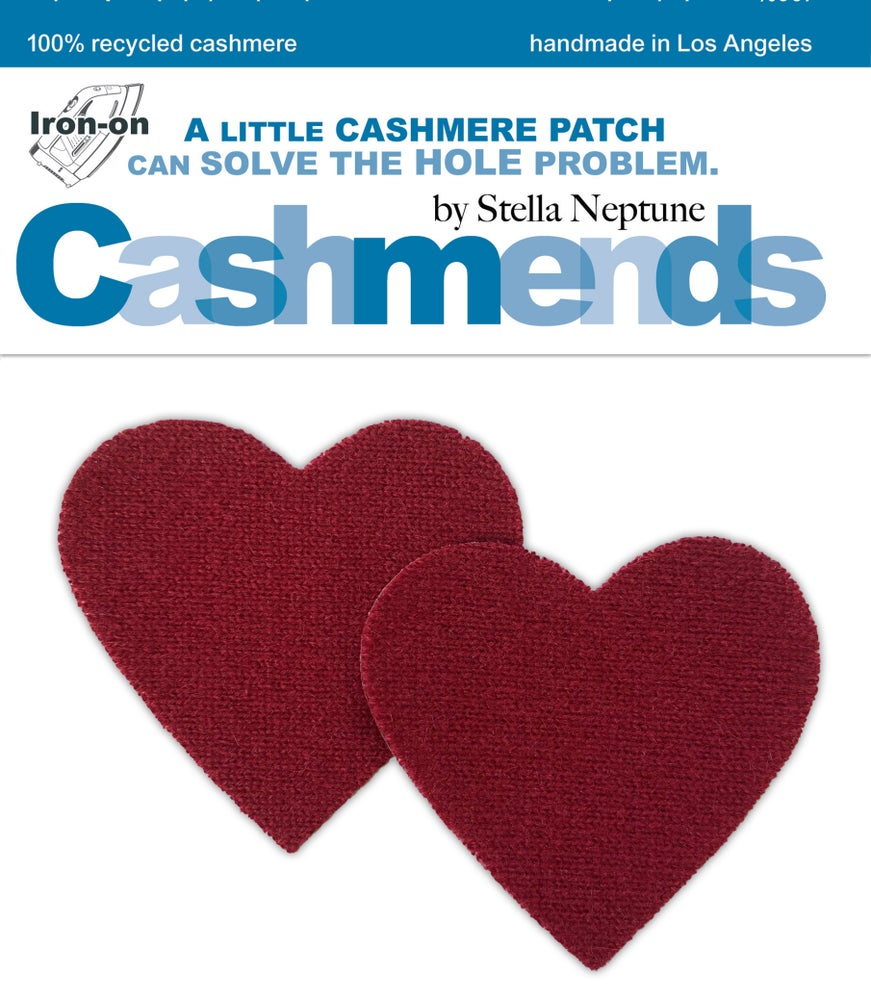 Image of Iron-On Cashmere Elbow Patches - Dark Red Hearts