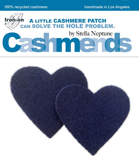 Image of Iron-On Cashmere Elbow Patches - Heather Blue Hearts