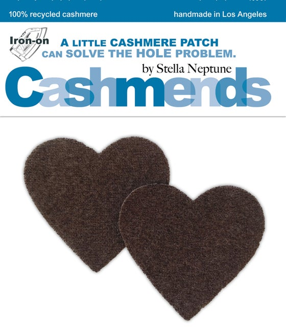 Image of Iron-On Cashmere Elbow Patches - Heather Brown Hearts