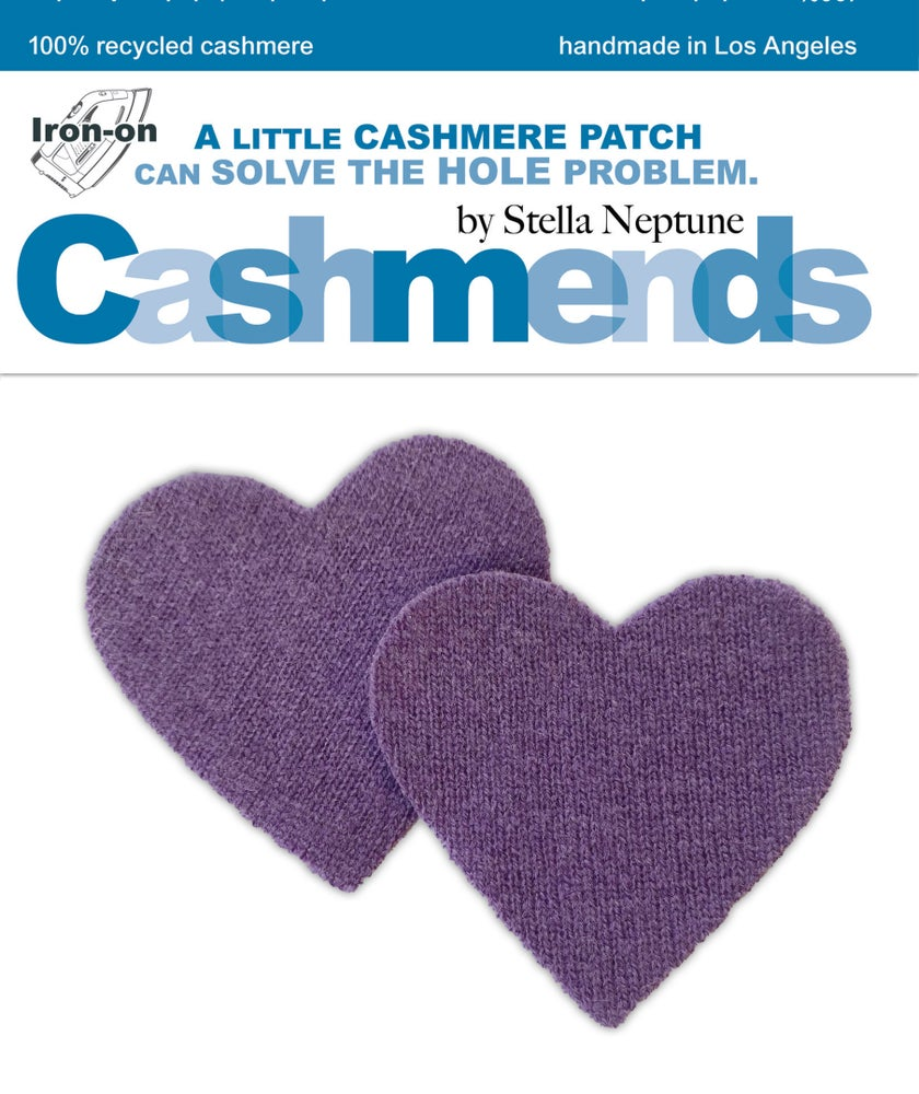 Image of Iron-On Cashmere Elbow Patches - Dark Lavender Hearts