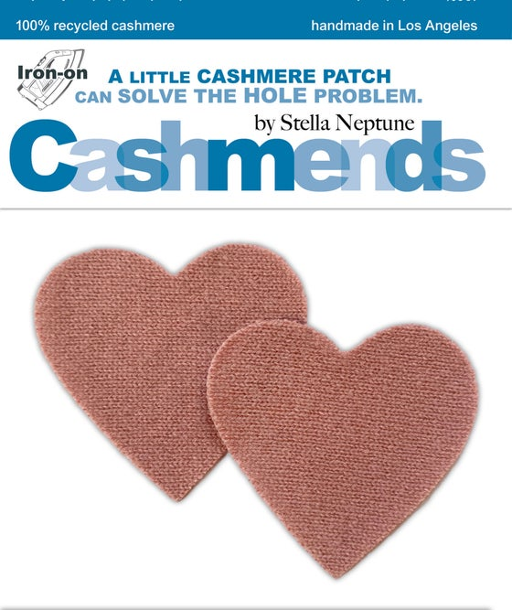 Image of Iron-On Cashmere Elbow Patches - Rosewood Pink Hearts