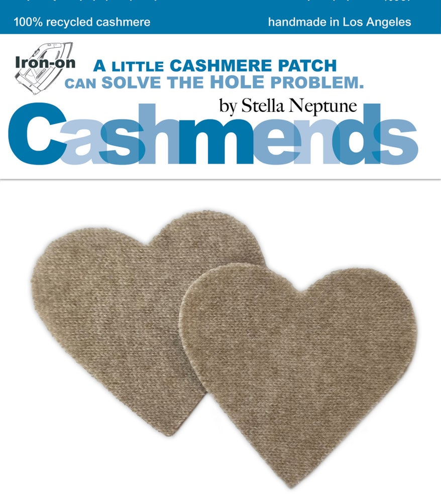 Image of Iron-On Cashmere Elbow Patches - Dark Oatmeal Hearts