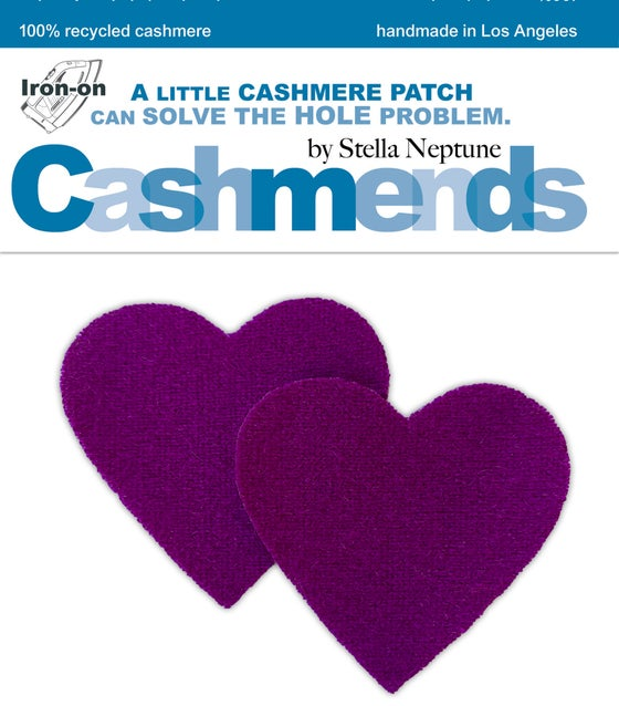 Image of Iron-On Cashmere Elbow Patches - Purple Violet Hearts