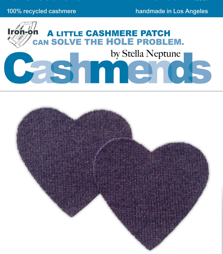 Image of Iron-On Cashmere Elbow Patches - Heather Bluish Purple Hearts