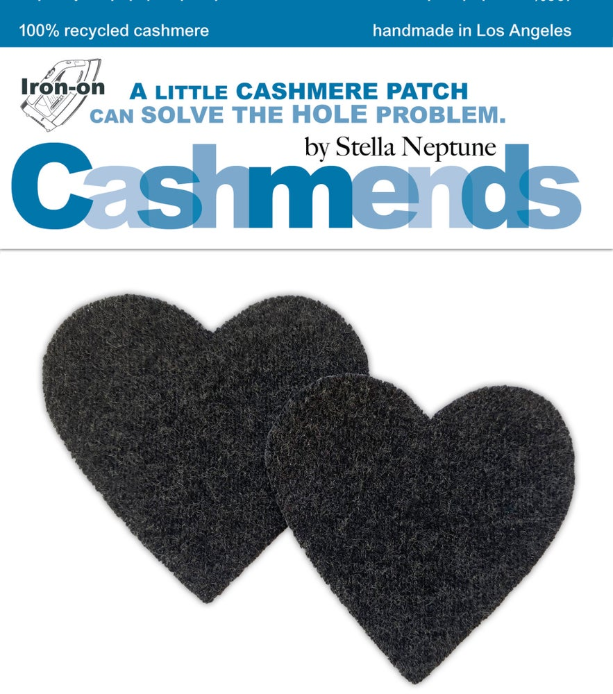 Image of Iron-On Cashmere Elbow Patches - Charcoal Gray Hearts