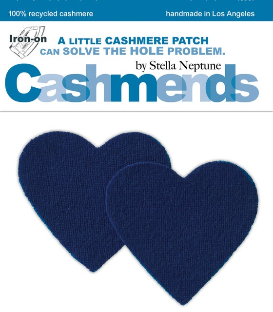 Image of Iron-On Cashmere Elbow Patches - Navy Blue Hearts