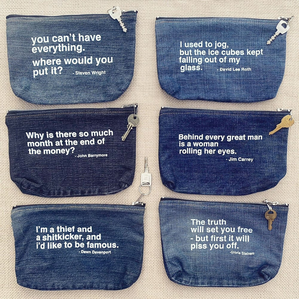 """Image of """"I Used To Jog....""""   Upcycled Denim Zip Pouch"""