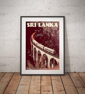 Image of Vintage Poster Sri Lanka - Nine Arch Bridge - Coral - Fine Art Print