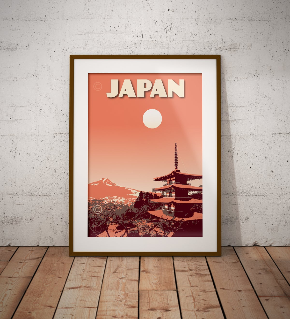 Image of Japan Print | Vintage poster Japan Mt. Fuji | Pagoda Chureito | Travel Poster | Gift | Coral