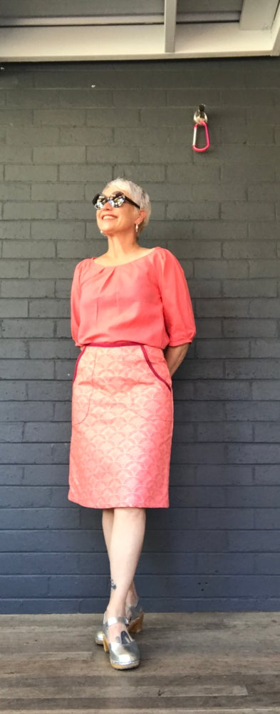 Image of KylieJane Pocket skirt- coral fans