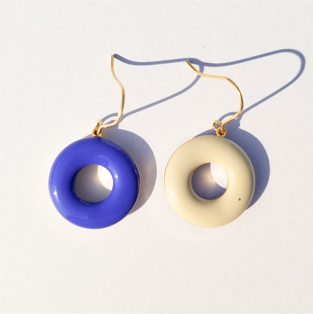 Donut Earrings • Stone & Royal Blue