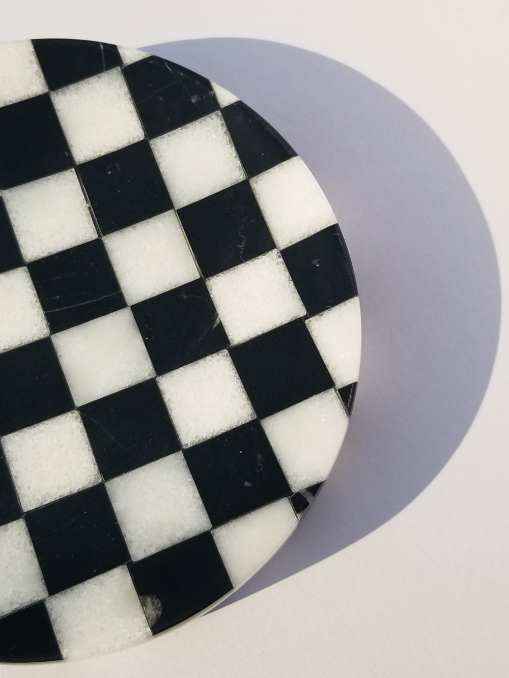 Checkered Marble Ashtray with Crystal Ball