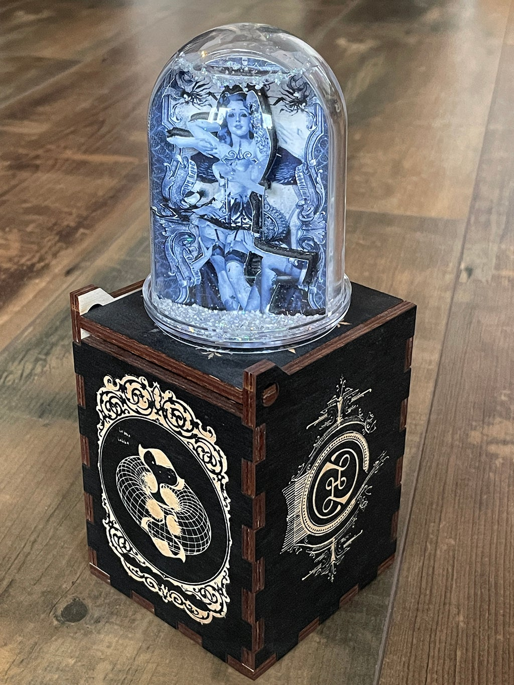 Image of HAND MADE SNOW GLOBE IN  WOODEN BOX