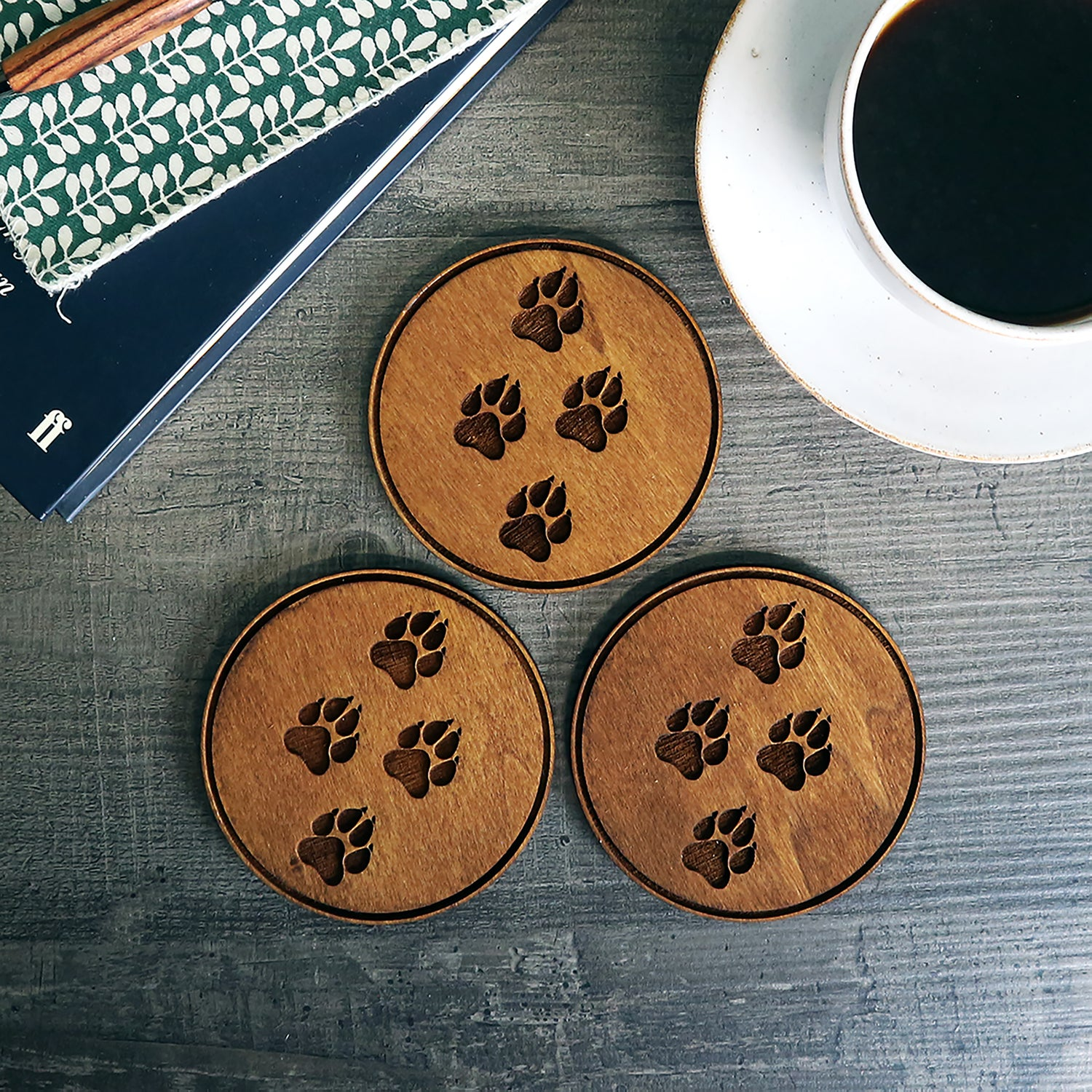 Image of Engraved Paw Print Coaster - set of 4