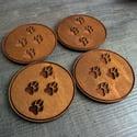 Engraved Paw Print Coaster - set of 4