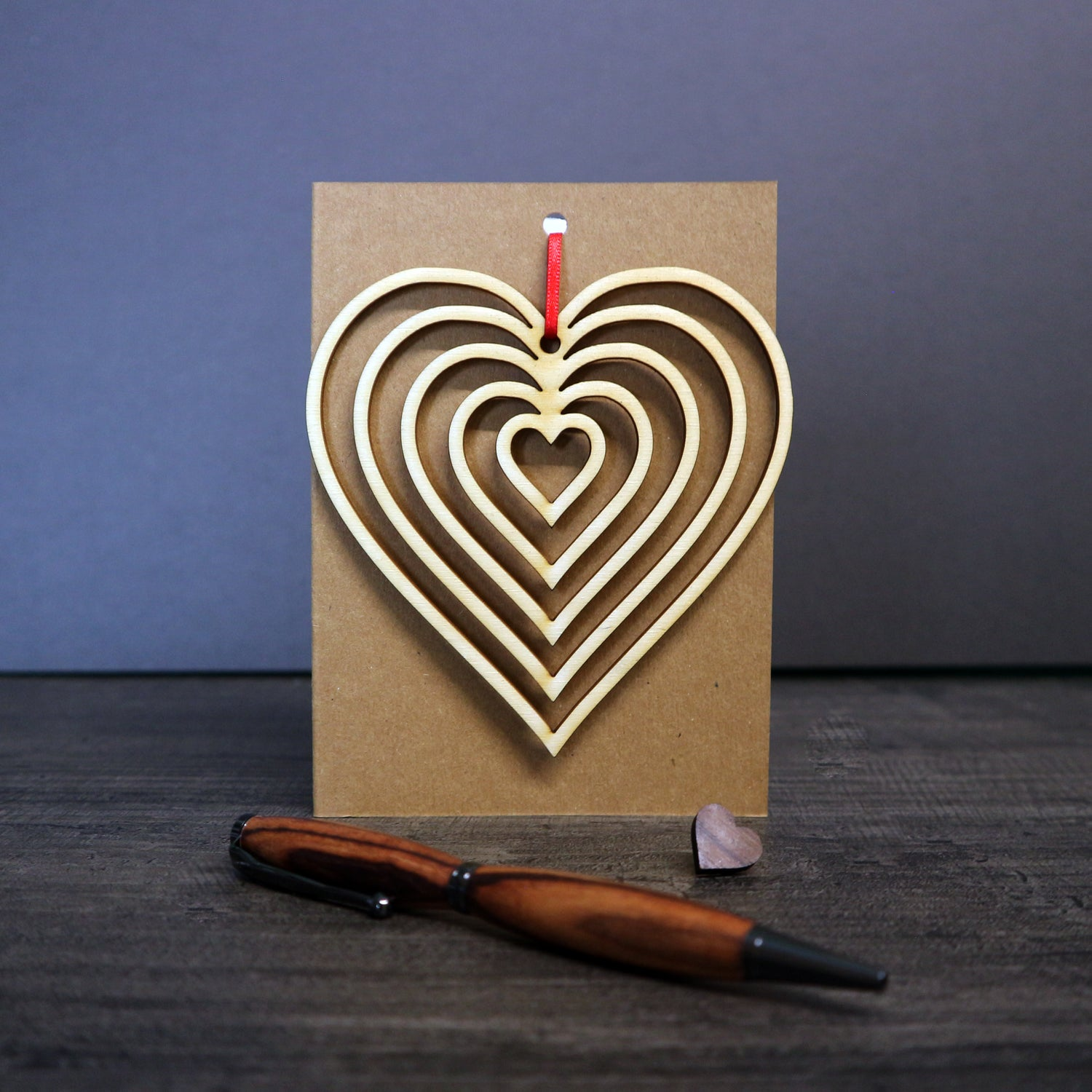 Image of Cascading Heart Greetings Card with Hanging Keepsake